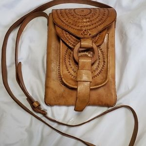 VTG Tooled Leather Whip Stitch Leather Crossbody